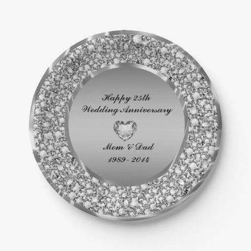 Diamonds Silver 25th Wedding Anniversary Paper Plate Zazzle