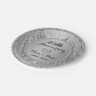 Diamonds & Silver 25th Wedding Anniversary Paper Plate