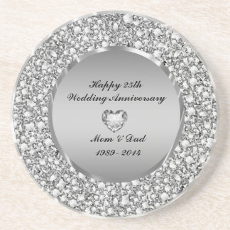 Diamonds & Silver 25th Wedding Anniversary Sandstone Coaster