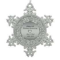 Diamonds & Silver 25th Wedding Anniversary Snowflake Pewter Christmas Ornament