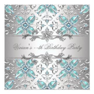 """Diamonds Silver Blue All Occasion Party Invitation 5.25"""" Square Invitation Card"""