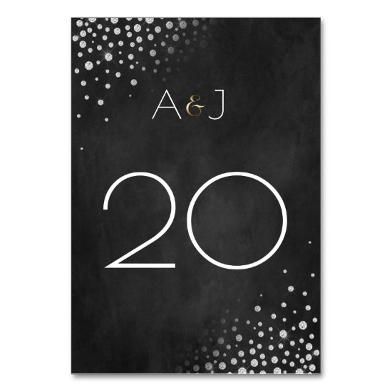 Diamonds Silver Gold Chalkboard Table Cards |