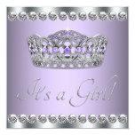 Diamonds Silver Lavender Purple Baby Shower Announcement