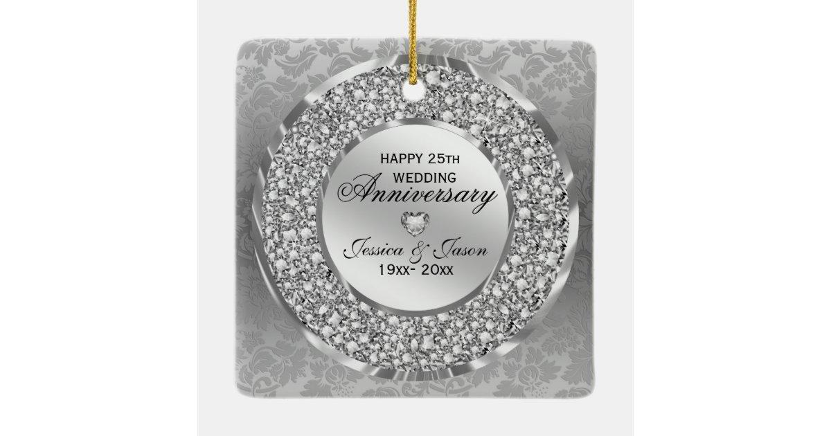 Diamonds Amp Silver Ring 25th Wedding Anniversary Ceramic