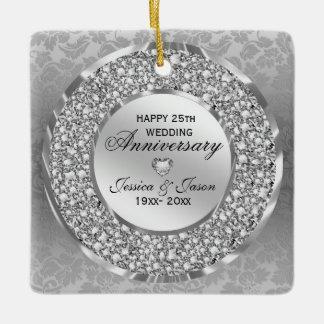 Diamonds & Silver Ring 25th Wedding Anniversary Ceramic Ornament