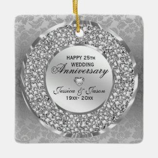 Diamonds & Silver Ring 25th Wedding Anniversary