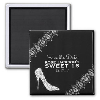 Diamonds Stiletto Heels Sweet 16 Save the Date B&W Magnet