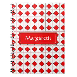 Diamonds suit pattern with name notebook