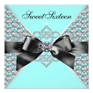 Diamonds Teal Blue Black Sweet 16 Birthday Party Card