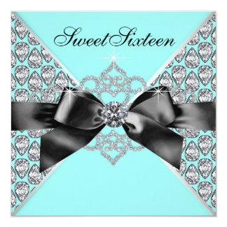 "Diamonds Teal Blue Black Sweet 16 Birthday Party 5.25"" Square Invitation Card"