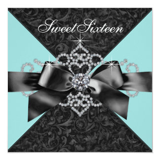 Diamonds Teal Blue Black Sweet 16 Birthday Party Announcement