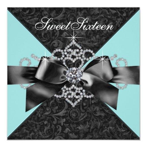 Diamonds Teal Blue Black Sweet 16 Birthday Party Invitation