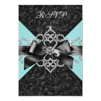 Diamonds Teal Blue Black Sweet 16 Birthday Party 3.5x5 Paper Invitation Card