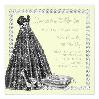 Diamonds Tiara Yellow Quinceanera Custom Invitations