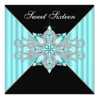 Diamonds Turquoise Blue and Black Birthday 5.25x5.25 Square Paper Invitation Card
