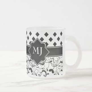 Diamonds Victorian Flourish Black White Frosted Glass Coffee Mug