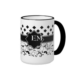 Diamonds Victorian Flourish Black White Coffee Mugs