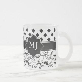 Diamonds Victorian Flourish Black White Mugs
