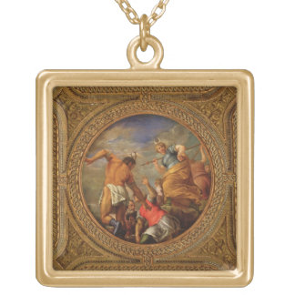 Diana and Actaeon, from the ceiling of the library Square Pendant Necklace