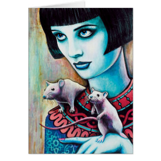 Diana and the Postcard Rats Greeting Card