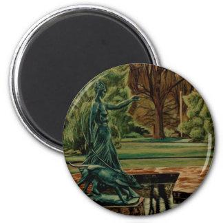 Diana Artemis Sculpture In Gardens 2 Inch Round Magnet