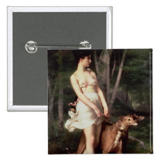 Diana el Huntress Pin Cuadrado