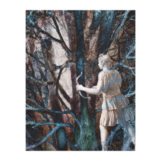 Diana en el bosque mágico - diosa de la caza impresión en lienzo