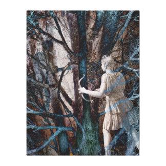 Diana en el bosque mágico - diosa de la caza impresiones en lienzo estiradas