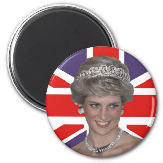Diana flying the Flag 2 Inch Round Magnet