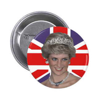 Diana flying the Flag Pinback Button