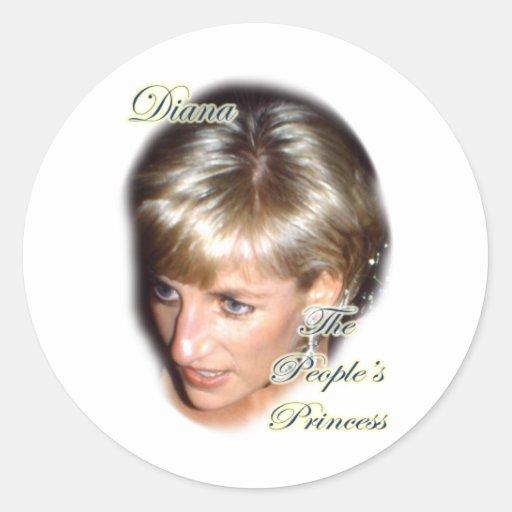 Diana la princesa de la gente pegatina redonda