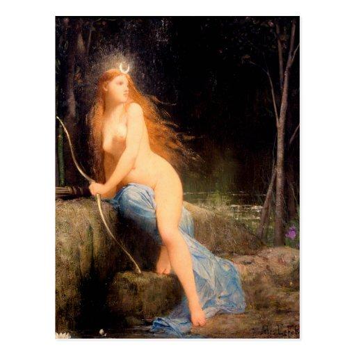 Diana - pintura famosa del vintage - Lefebvre Postales
