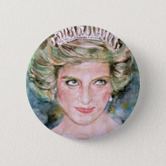 diana,princess of wales - watercolor portrait.2 button