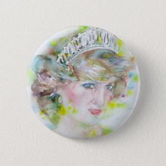 diana,princess of wales - watercolor portrait.3 button