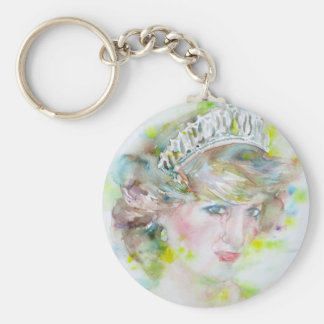 diana,princess of wales - watercolor portrait.3 keychain