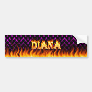 Diana real fire and flames bumper sticker design.