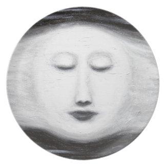 Diana Sleeping Full Moon (Surreal Realism) Dinner Plates