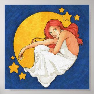 Diana y la impresión del arte de la luna póster