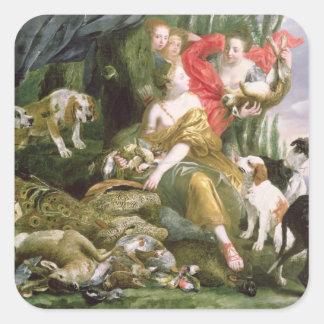 Diana y sus handmaidens después de la caza pegatina cuadrada