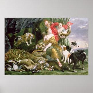 Diana y sus handmaidens después de la caza póster