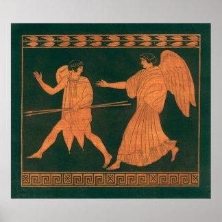 Diana y un ángel, mitología romana del vintage póster
