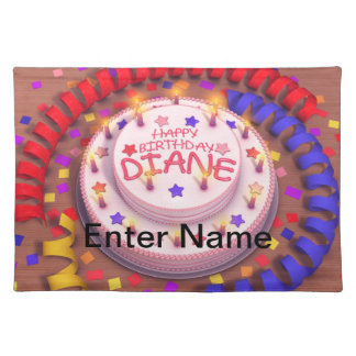 Diane's Birthday Cake Cloth Placemat