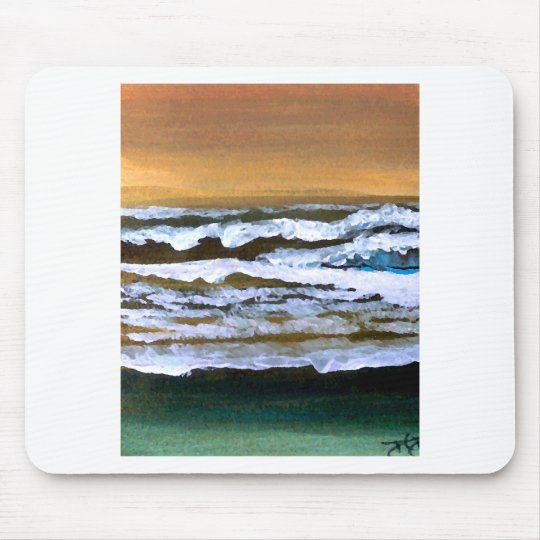 Diane's Ocean Sea Waves Art Gold and Blue Mouse Pad