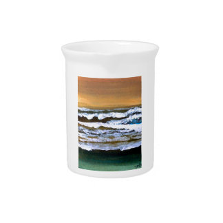 Diane's Ocean Sea Waves Art Gold and Blue Drink Pitcher