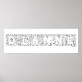 Dianne Name Color In Artwork Print