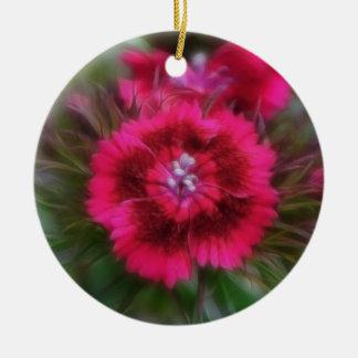 Dianthus Barbatus - Deep Red Ceramic Ornament
