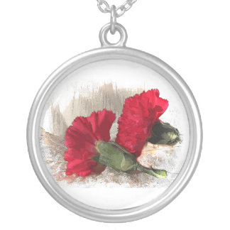 Dianthus on Brocade Round Pendant Necklace