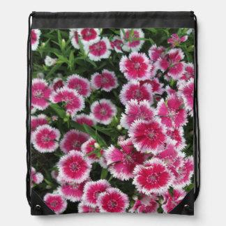 Dianthus Pink White Drawstring Bags