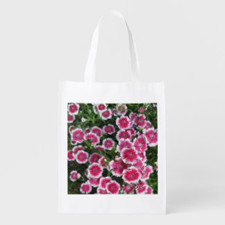 Dianthus Pink White Reusable Grocery Bag