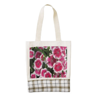 Dianthus Pink White Zazzle HEART Tote Bag